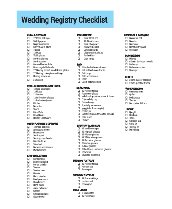 photograph regarding Wedding Registry Checklist Printable referred to as Printable Marriage ceremony Listing Pattern - 11+ Illustrations inside PDF, Term