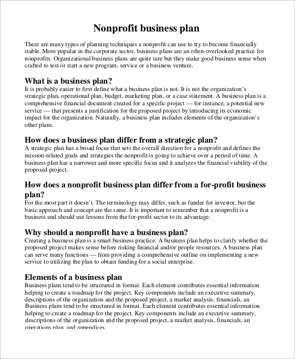 Sample Business Plan Outline   Examples In Word Pdf
