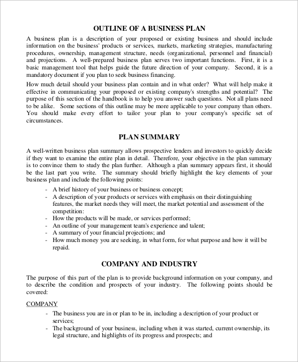sample business plan outline pdf