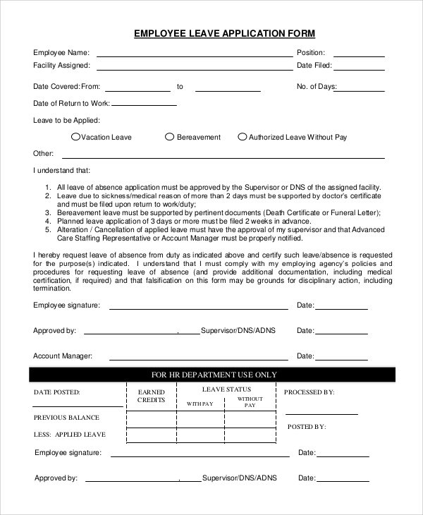 Sample Employee Application 8 Examples in PDF Word – Leave Application Form for Employee