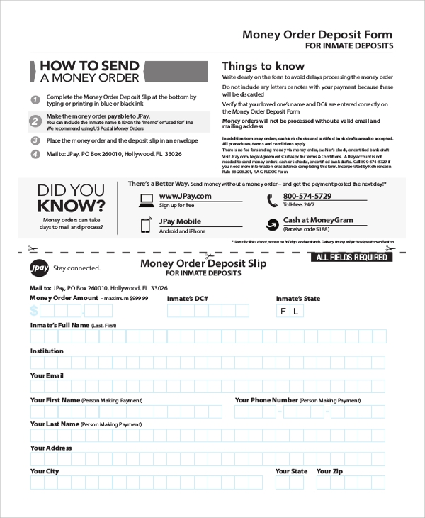 money order deposit form