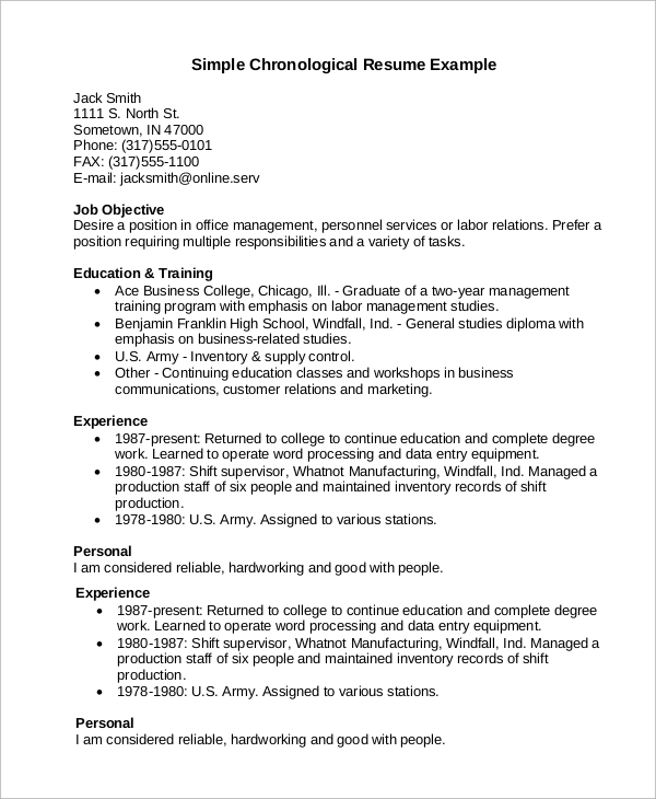 chronological resume template download 9 sample chronological resumes sample templates 20853