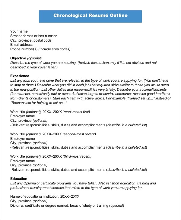 example of s chronological resume