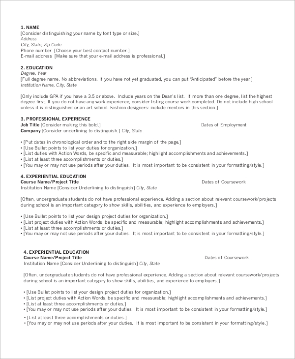 free 9  sample chronological resume templates in ms word