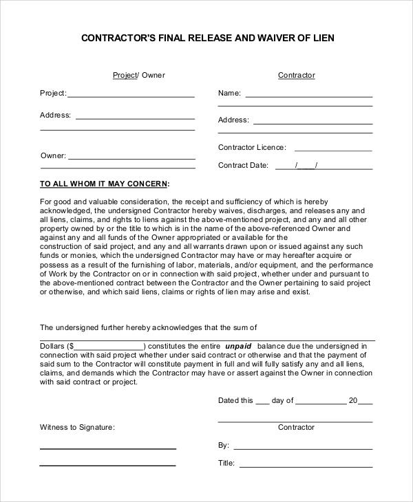 lien waiver release