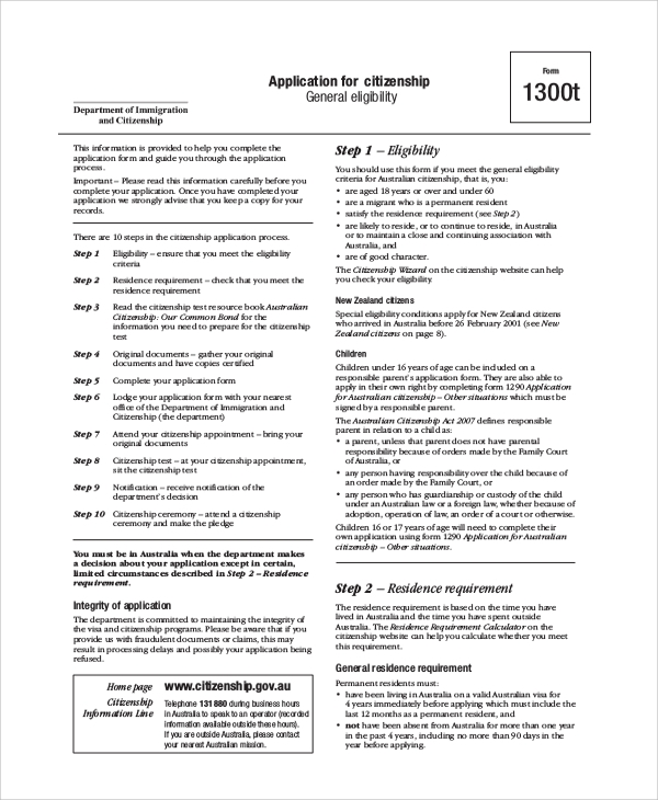 citizenship form 1300t