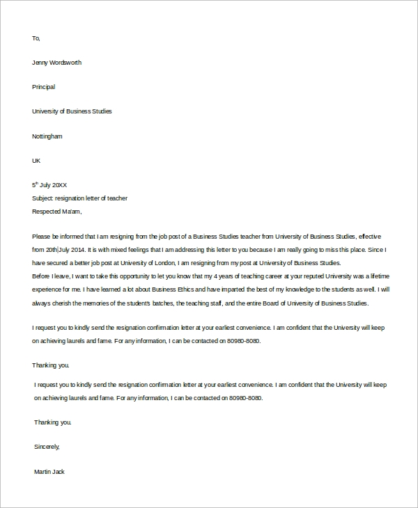 Example Of Resignation Letter - 8+ Samples In Word, Pdf