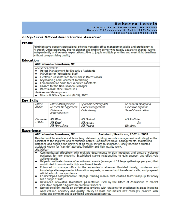 sample office assistant resume skills