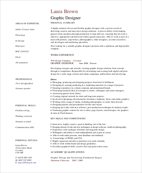 graphic designer resume example