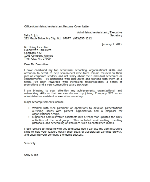office administrative assistant resume cover letter