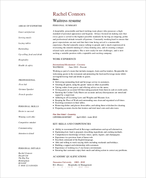 resume example 9 samples in word pdf - Resume Food Service Worker