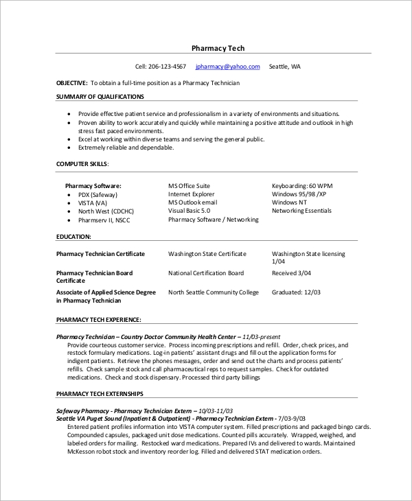 pharmacy technician resume template inpatient pharmacy
