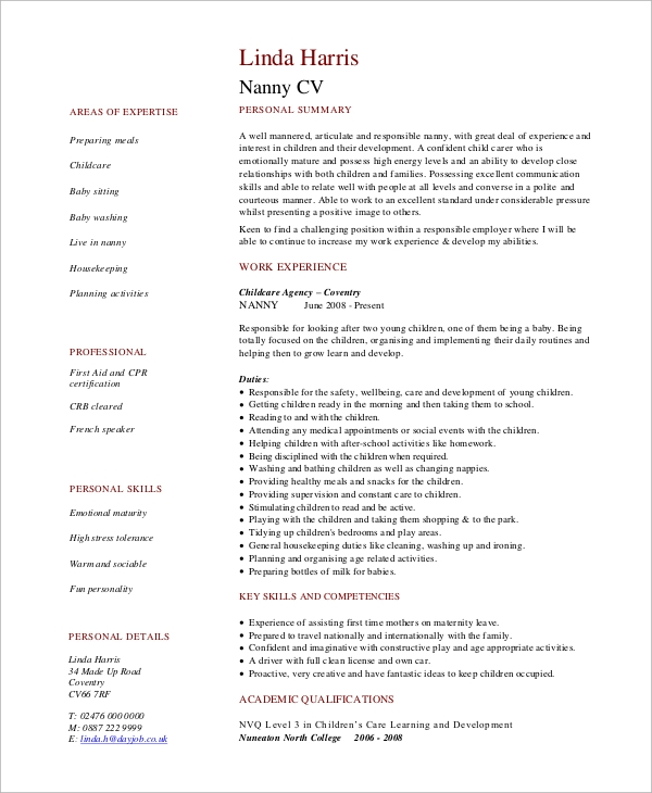 nanny resume example1