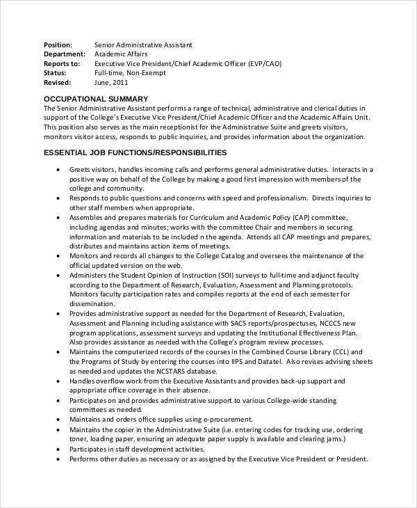 Sample Administrative Assistant Job Description   Examples In Pdf