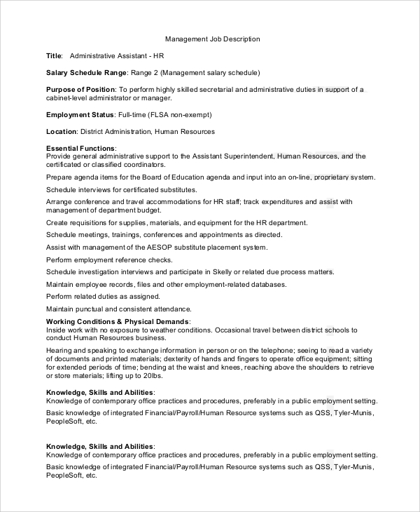 Sample Personal Assistant Job Description 9 Examples In Pdf Word