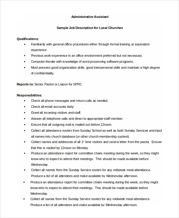 Sample Administrative Assistant Job Description 8 Examples in – Job Description Form Sample