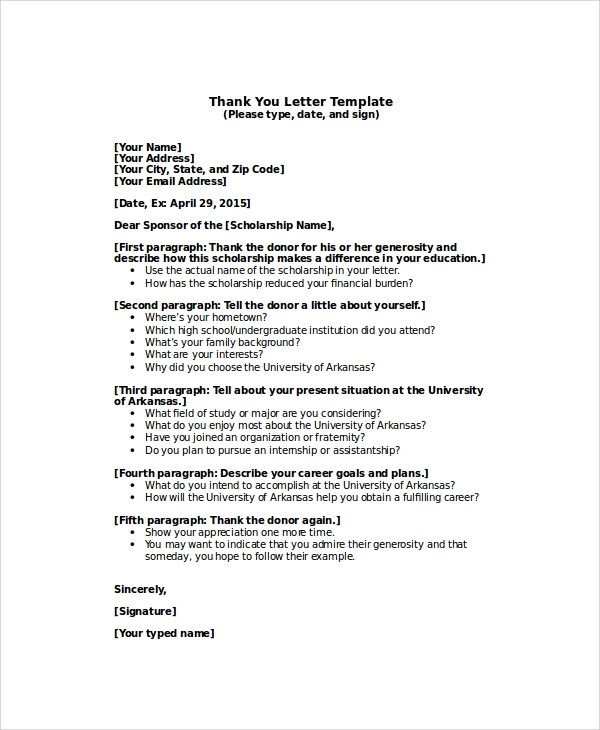 Sample thank you letter for scholarship 7 examples in word pdf sample scholarship thank you letter to sponsor expocarfo