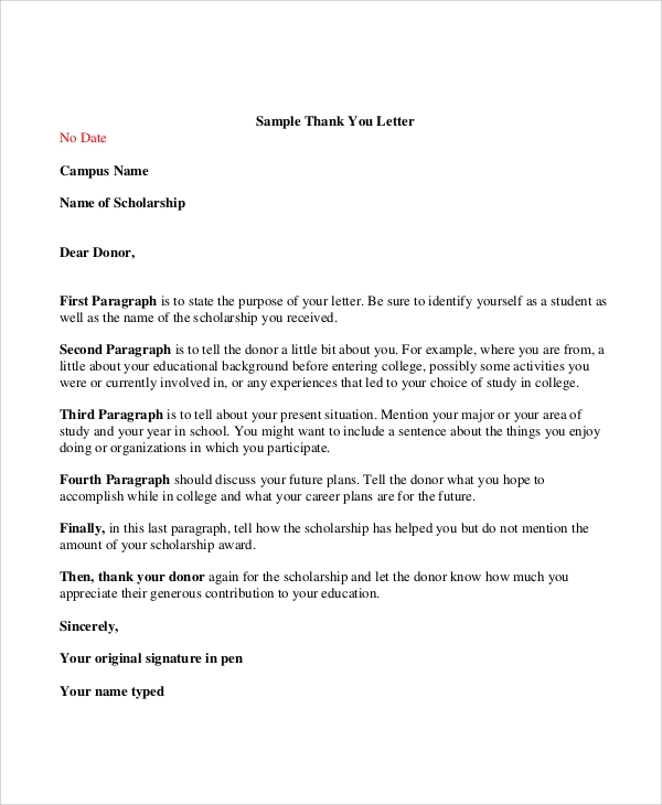Sample thank you letter for scholarship 7 examples in word pdf sample donor thank you letter expocarfo