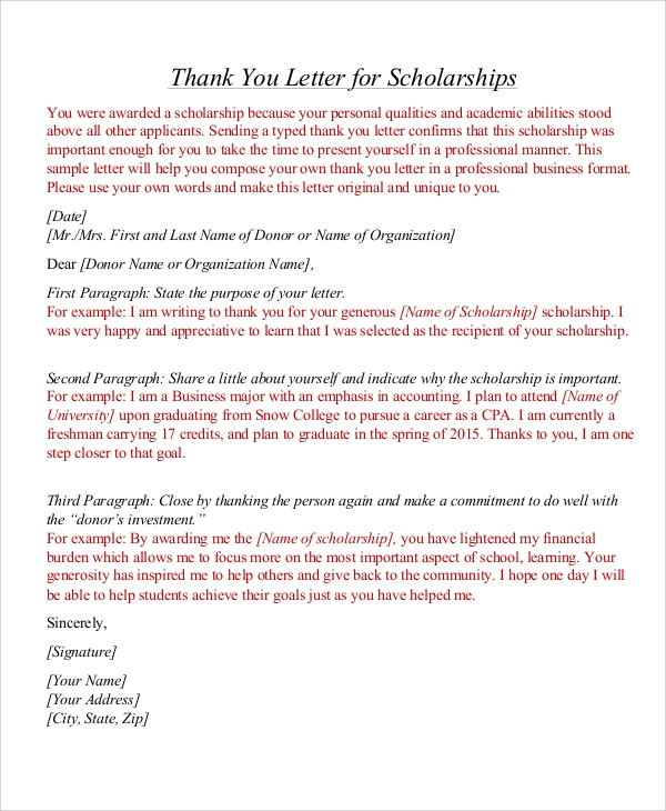 Sample thank you letter for scholarship 7 examples in word pdf scholarship thank you letter format expocarfo