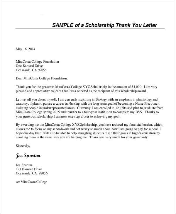 Sample Thank You Letter For Scholarship 7 Examples in Word PDF – Thank You Note Sample