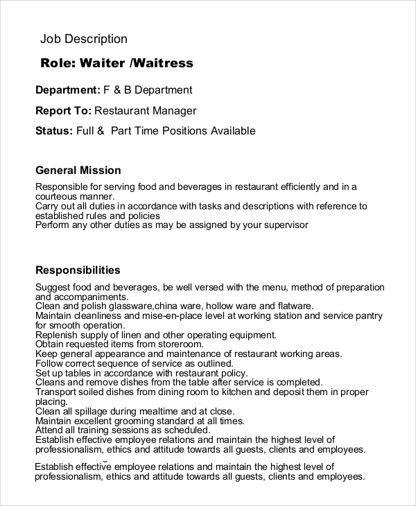 Sample Waitress Job Description   Examples In Pdf