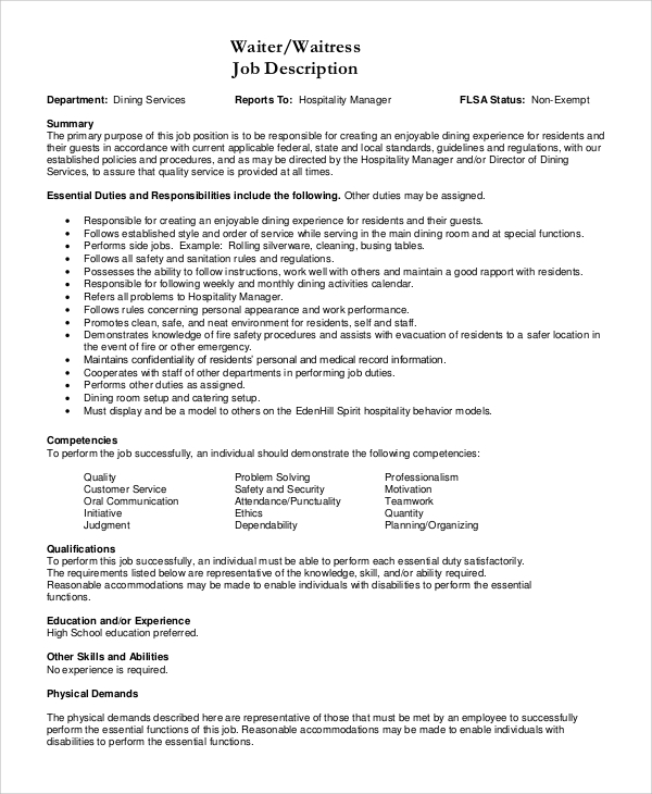 Sample Waitress Job Description - 7+ Examples In Pdf