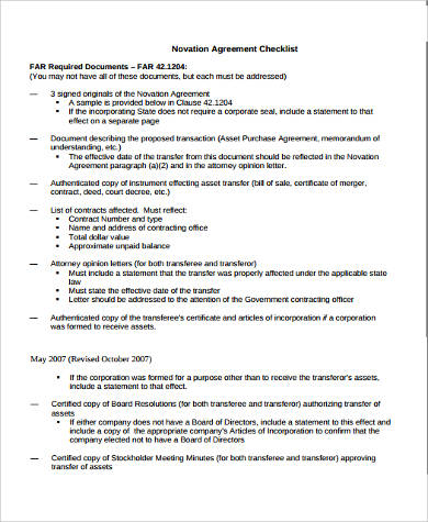Awesome Sample Novation Agreement Checklist