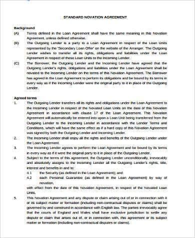 standard novation agreement