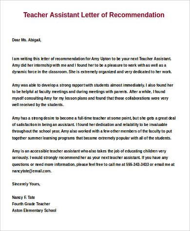 Sample Letters Of Recommendation For A Teacher 9