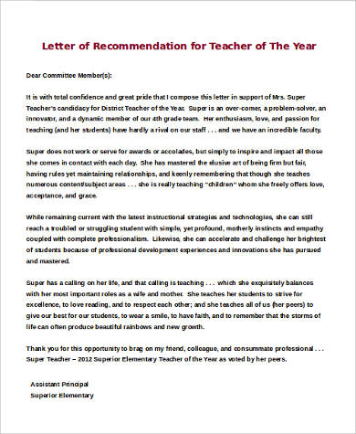 Sample Recommendation Letter For Teacher Of The Year Recommendation