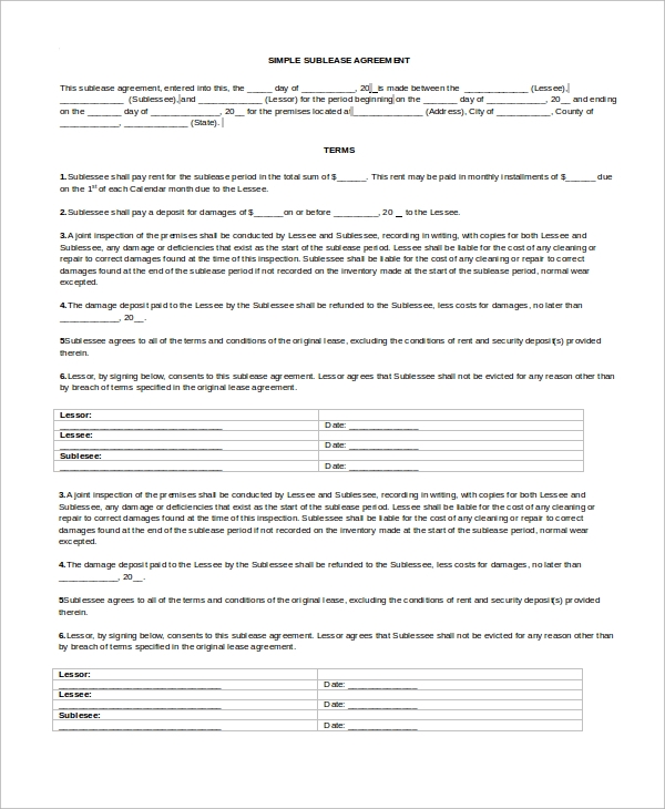 8 Sample Sublease Agreements Sample Templates