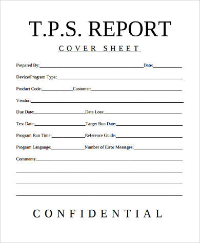 report cover sheet format