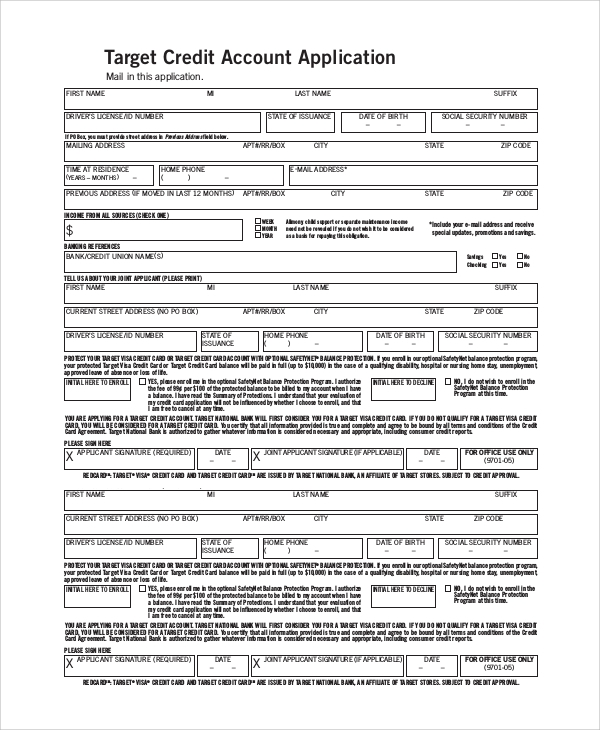 sample credit card application Sample Target Application Form - 7  Examples in PDF