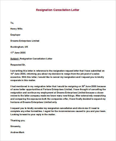 example of cancellation letter of resignation