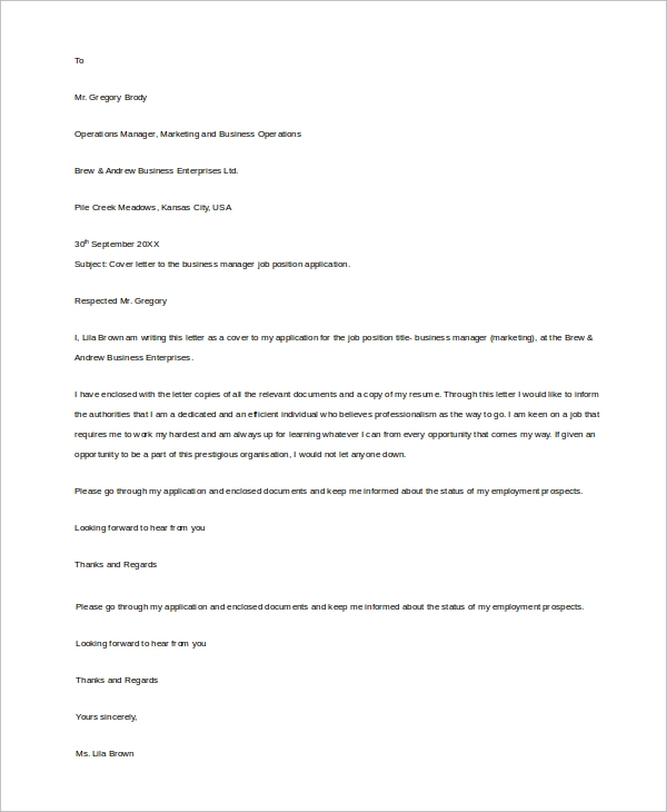 business cover letter example - Cover Letter Examples For Business