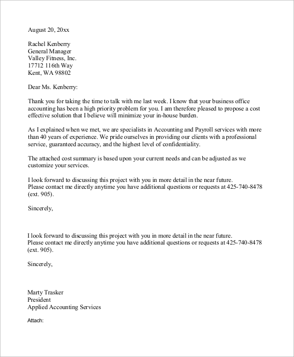 Attractive Business Proposal Letter Example