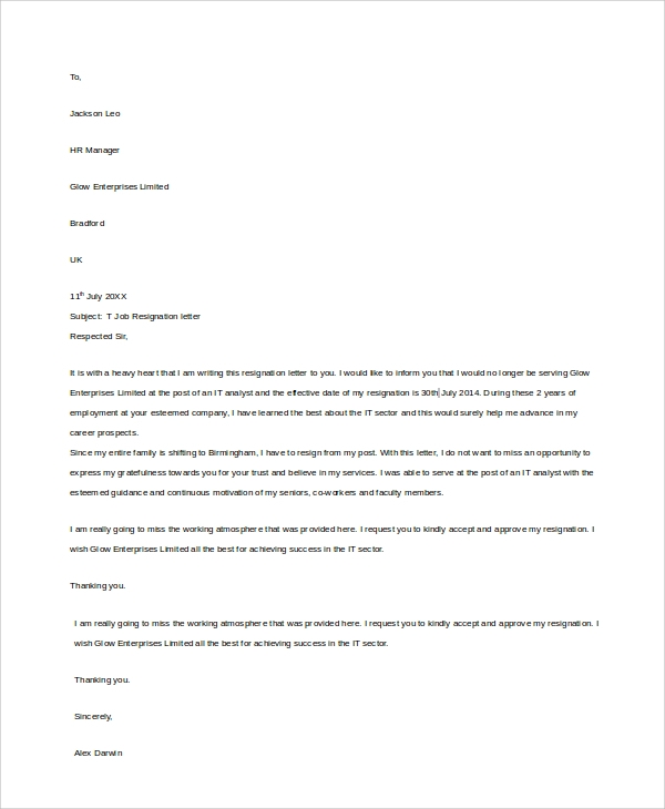 job resignation letter sample1