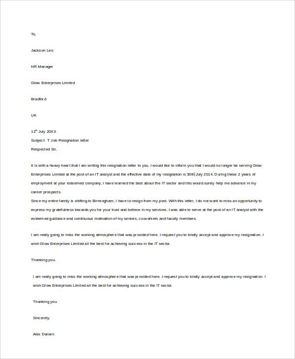 job resignation letter sample1
