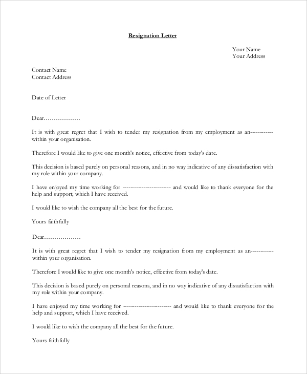 resignation letter personal reasons