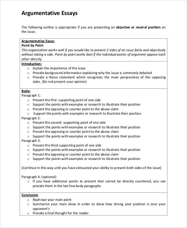 Argumentative Essay Outline Examples Outline Example For Essay