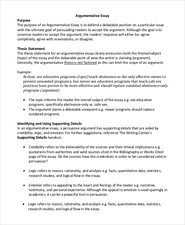 Thesis Statement For Argumentative Essay How To Write A Good