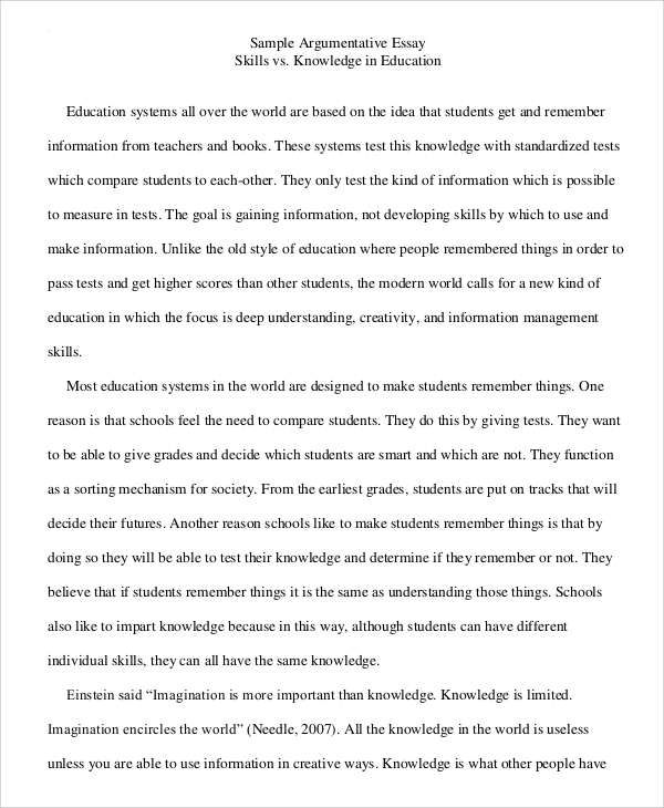 argumentative essay sample college