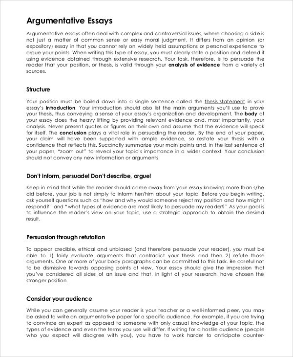sample essay argumentative Free examples of argumentative essay argumentative essay samples.