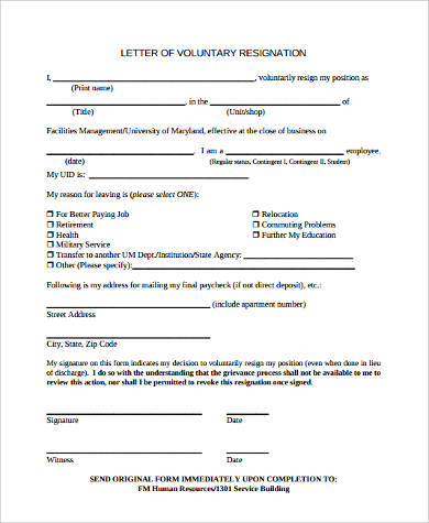 example letter of voluntary resignation