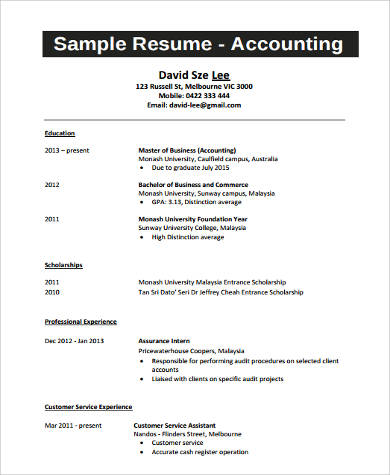 accounting college student resume example