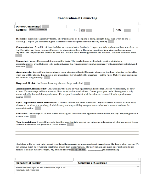 initial counseling template - 7 army counseling form samples sample templates