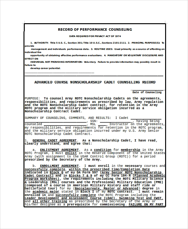 army record of performance counseling