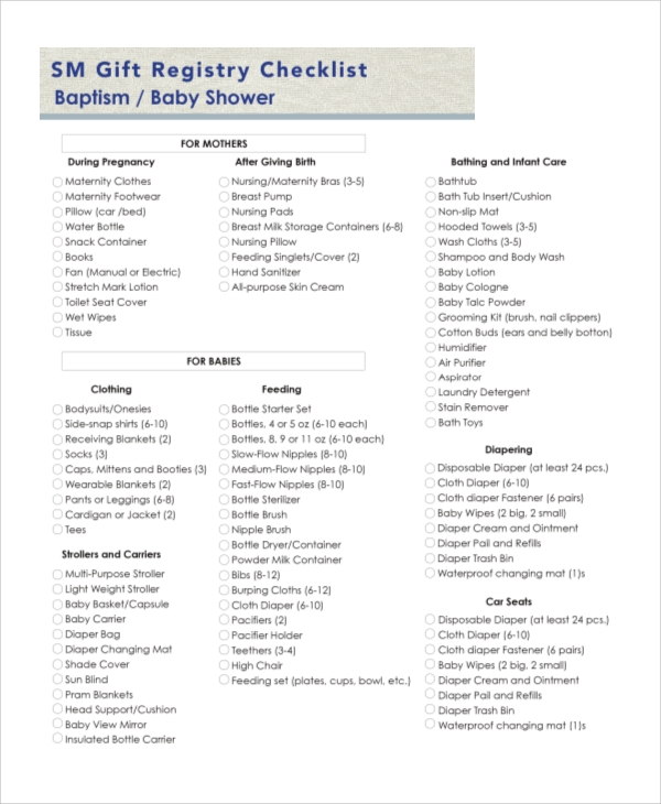 Sample Baby Registry Checklist   Examples In Pdf