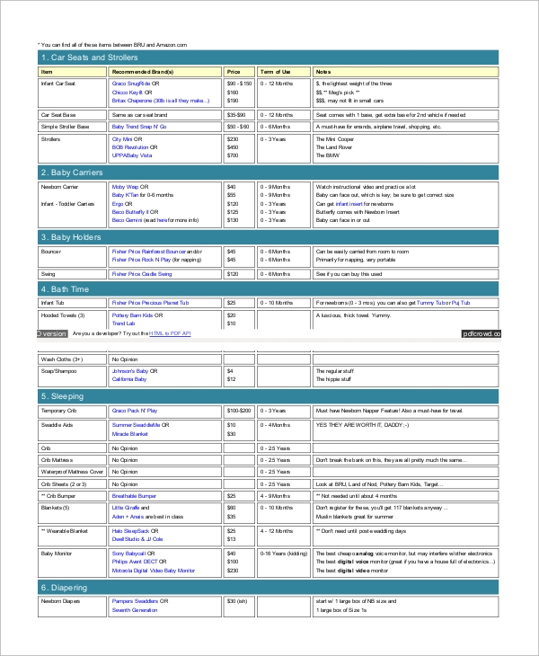 target baby registry checklist