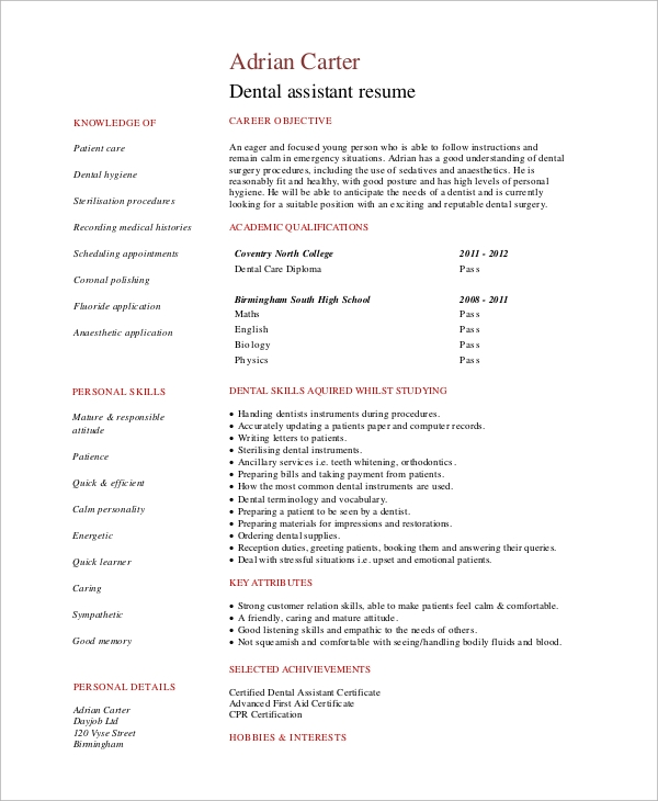 Simple Resume Example  8 Samples in Word  PDF